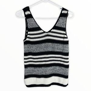 Topshop striped sweater vest knit tank black white